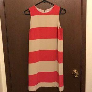 Fossil Pink and white stripe sheath dress. Size 6